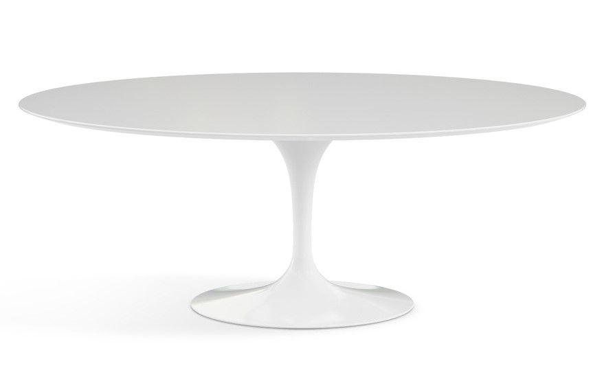Saarinen Tulip Tisch Oval Laminat Weiss