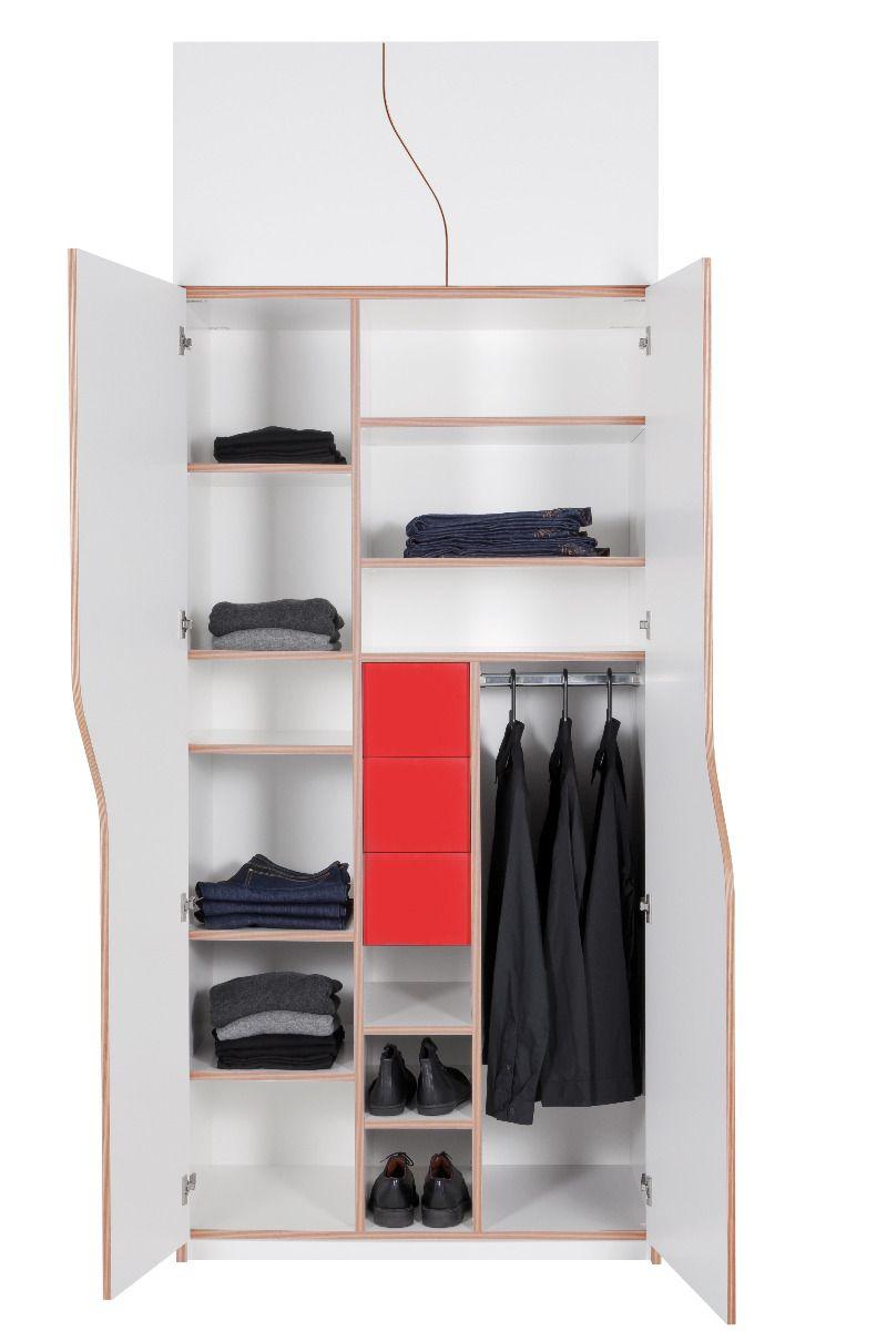 Plane Kleiderschrank mit Aufsatz und Innenschubladen